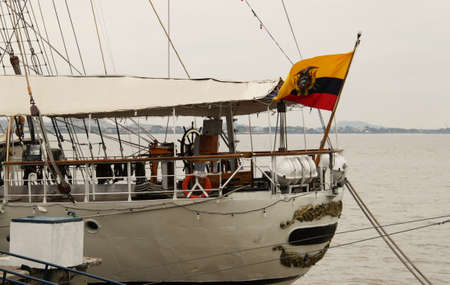 Ancient sailing ship in the port of Guayaquil