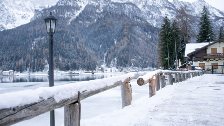 Fence on the frozen lake