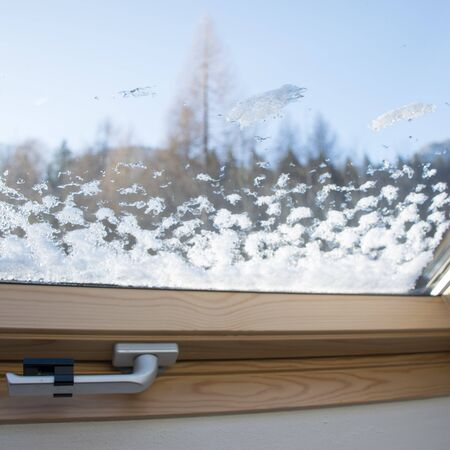 Frost through the glass window