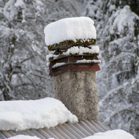 Fireplace with snow