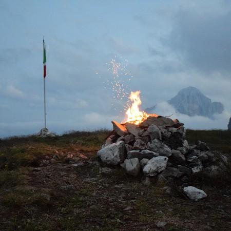 Small bonfire on the summit
