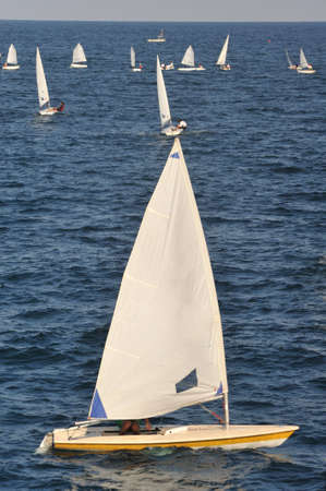 race with a sailboat  Stock Photo