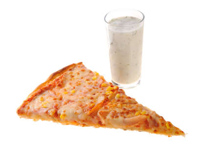 piece of pizza and a glass tarator
