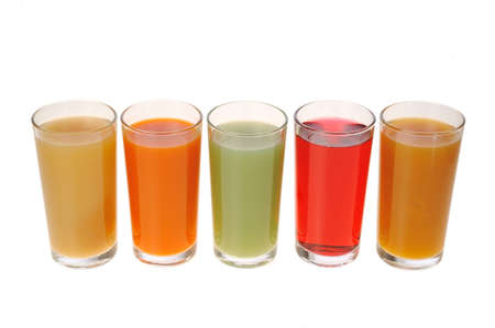 different juices on a white background