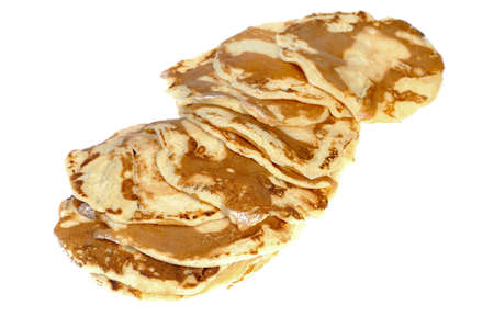 pancakes on a white background