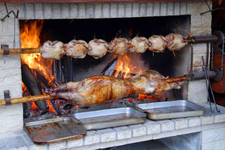 roasted lamb and chicken