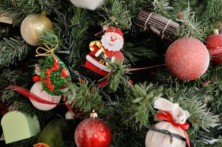 Christmas tree decorated with toys Stock Photo