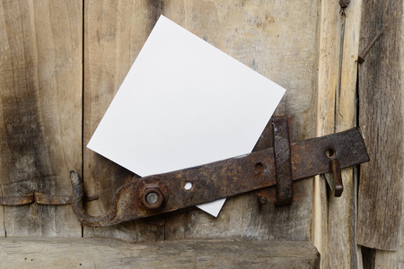 Door with a white sheet of paper