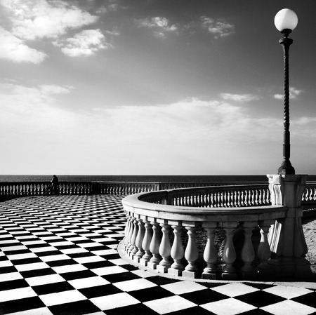 bannister: Livorno, Tuscany, Italy: famous promenade along the shore.