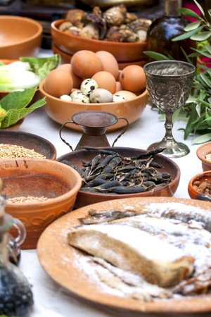egg cup: Preparing ancient Roman food - eggs, fish, beans, etc...