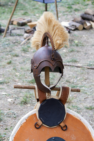 ancient roman: Copy of ancient helmet of Roman legionnaire.