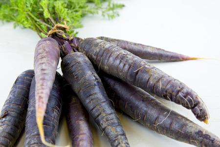 zanahorias: Manojo de zanahorias púrpuras de la herencia, sobre fondo blanco y madera. Foto de archivo