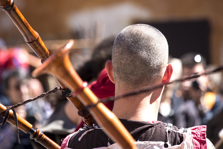bagpipe: Celtic festival - detail of a bagpipe. Stock Photo