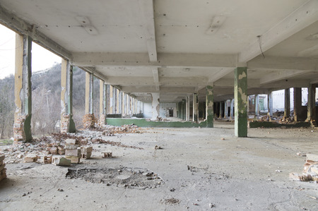 Ruins of a huge empty building photo