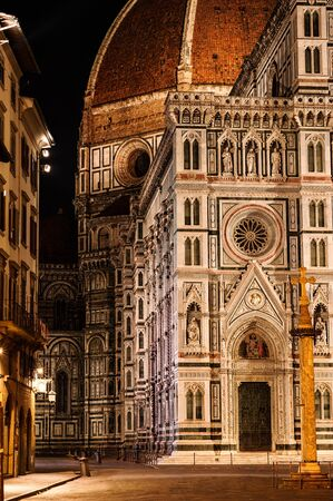 Frontage of the Cathedral Santa Maria of the Flowers, Piazza del Duomo, Florence, Tuscany, Italy, Europe. The place is at peace after and before visitors are back all day long... Stock Photo