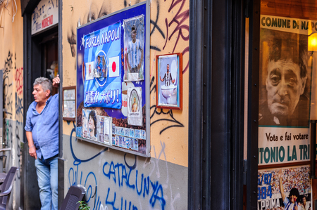 A pub manager despaired with the lack of business in Spaccanapoli, Naples, Campania, Italy on September 2017 Editoriali