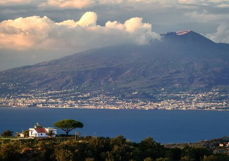 Vesuvio seems about to erupt, Bay of Naples, Pompei, Punta Campanella, Amalfi coast, Naples, Campania, Italy.
