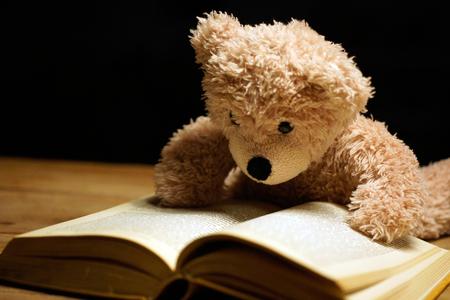 Brauner lesender Teddybär, der am Buch liegt