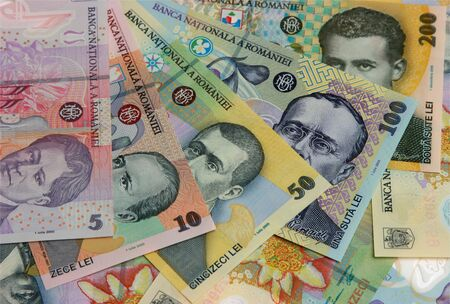 leu: Rumeno banconote, close-up Archivio Fotografico