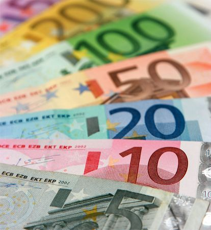 Euro banknotes, close-up with shallow depth-of-field; focus on the 10 and 20 Euro banknotes