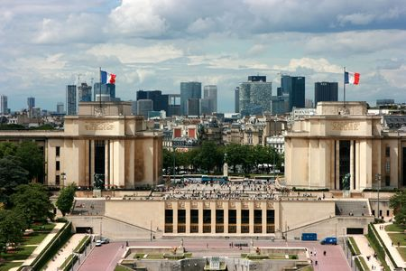 trocadero: Trocadero, seen from the Eiffel Tower with  Stock Photo