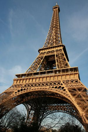 wideangle: Wide-angle view of the Eiffel Tower by sunset