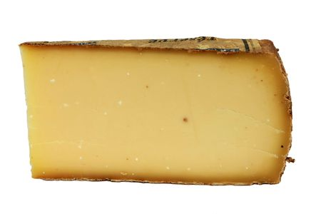 Slice of cheese, isolated on white photo