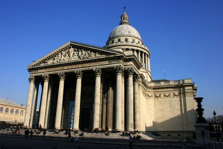 pantheon: The Pantheon building in Paris, wide-angle view