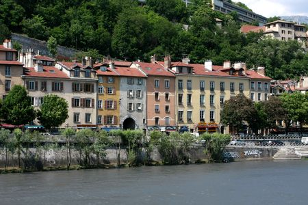 Houses on Isere's riverbank, Grenoble, France
