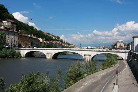 Bridge in Grenoble, France Banque d'images