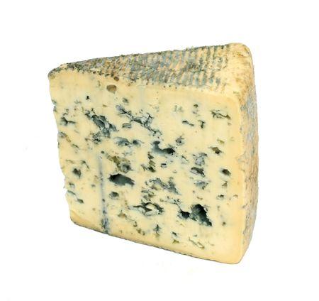 Slice of french musty cheese - Bleu dauvergne variety photo