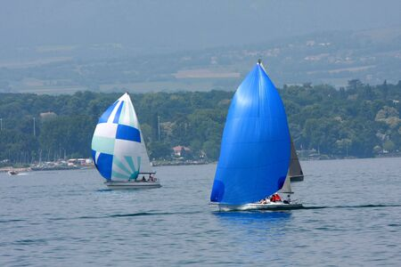 cruising: Two cruising sailboats Stock Photo