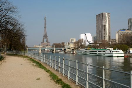 Skyline of Paris with the Eiffel Tower in the background Banque d'images