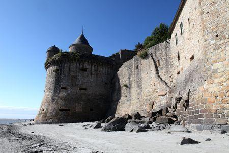 Defense walls, Mont de Saint Michel, Normandy, France photo