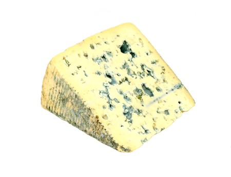 Slice of french musty cheese - Bleu d'auvergne variety