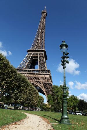 View of the Eiffel Tower from Champ de Mars, Paris, France photo
