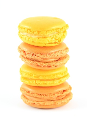 Traditional french macarons, isolated on white photo