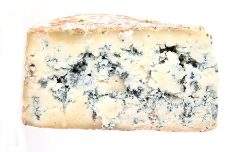 penicillium: Slice of french musty cheese - Bleu basque variety  Stock Photo