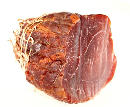 jambon: French ham (Noix de jambon), isolated on white