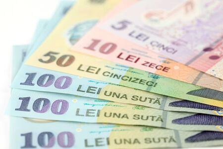 leu: Romanian banknotes, close-up