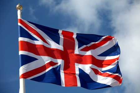 british flag: British flag waving in the wind