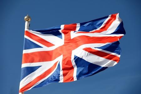waving flag: British flag waving in the wind