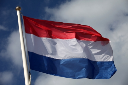 The flag of the Netherlands waving in the wind Banque d'images