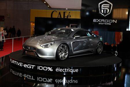 furtive: The new Exagon Motors Furtive-eGT displayed at the 2012 Paris Motor Show on September 30, 2012 in Paris