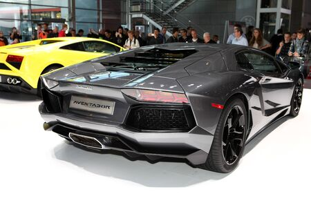The new Lamborghini Aventador displayed at the 2012 Paris Motor Show on September 30, 2012 in Paris Éditoriale