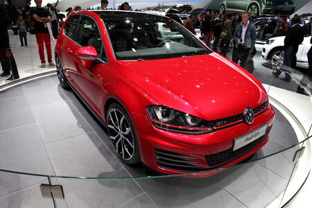 gti: The new Volkswagen Golf GTI displayed at the 2012 Paris Motor Show on September 30, 2012 in Paris Editorial