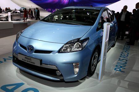plugin:  The new Toyota Prius Plug-in Hybrid displayed at the 2012 Paris Motor Show on September 30, 2012 in Paris