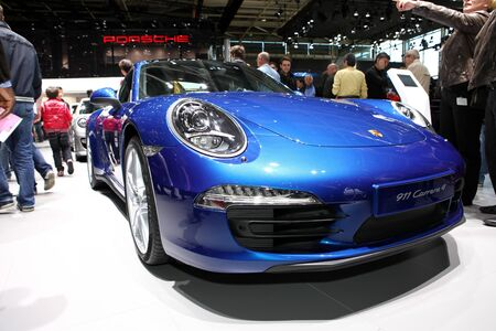 4s: The new Porsche 911 Carrera 4S displayed at the 2012 Paris Motor Show on September 30, 2012 in Paris
