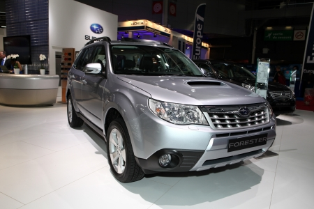 forester: The new Subaru Forester displayed at the 2012 Paris Motor Show on September 30, 2012 in Paris