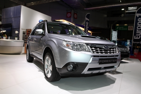 The new Subaru Forester displayed at the 2012 Paris Motor Show on September 30, 2012 in Paris